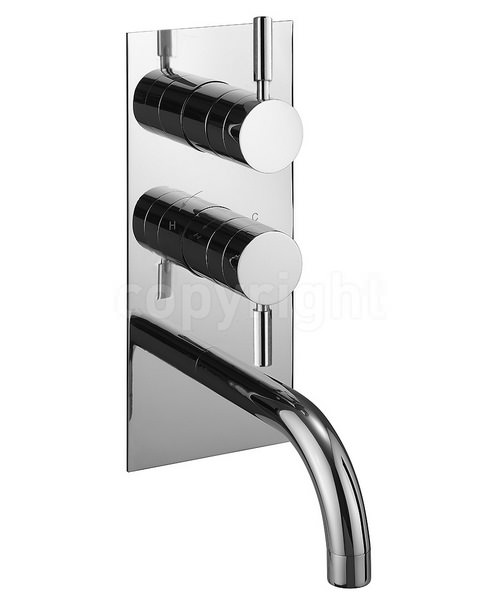 Crosswater Design Thermostatic 2 Way Diverter Shower Valve With Bath Spout