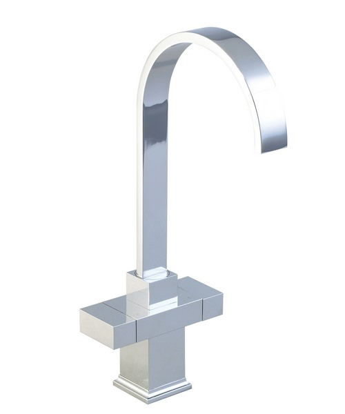 Phoenix Square Twin Designer Head Kitchen Sink Mixer Tap With Swivel Spout