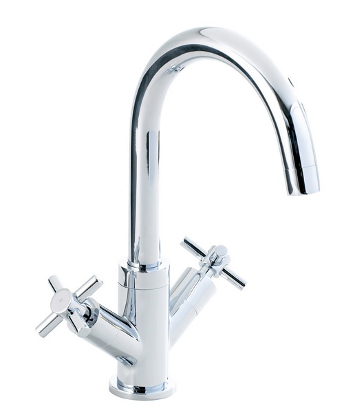 Phoenix Round Twin Cross Head Control Kitchen Sink Mixer Tap