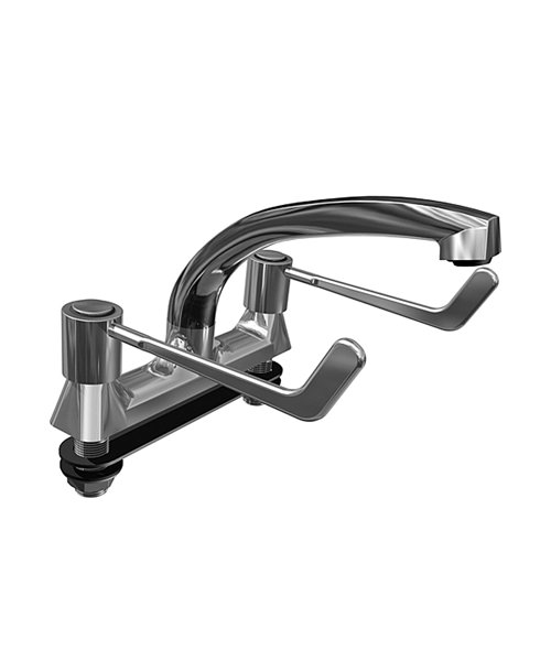 Deva Lever Action Deck Mounted Sink Mixer Tap With 6 Inch Lever