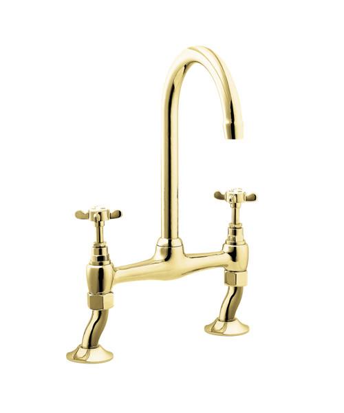 Deva Coronation Bridge Kitchen Sink Mixer Tap Gold