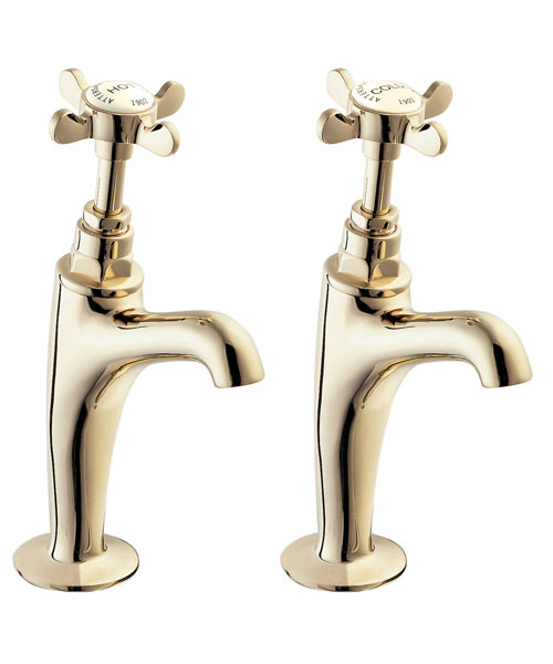 Deva Coronation 1/2 Inch High Neck Kitchen Sink Taps Gold