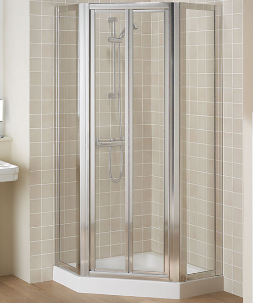 Lakes Classic Framed Pentagon Shower Enclosure With Bi Fold Door Silver