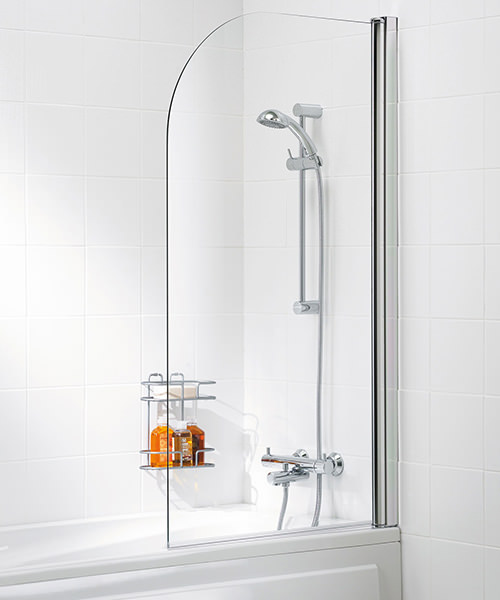 Lakes Classic Curved Bath Screen With Towel Rail 975mm Silver