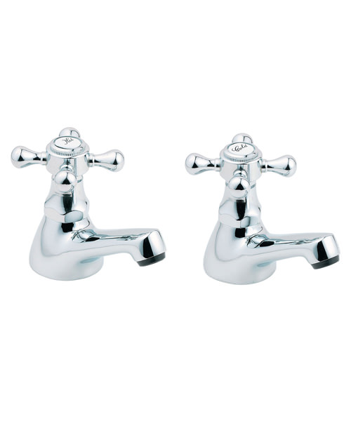 Deva Tudor Chrome Basin Taps Pair