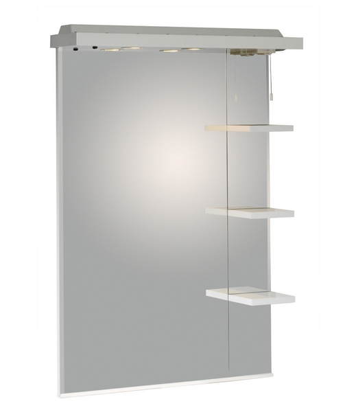 New England White 700mm Mirror With Canopy And Shelves