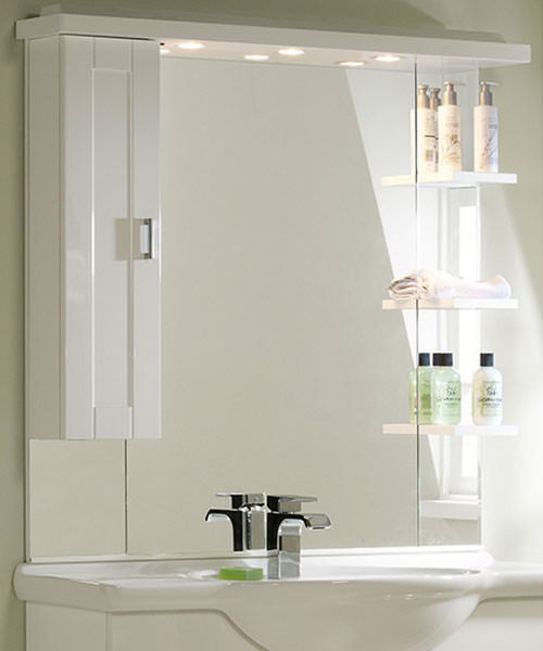 New England White 1000mm Mirror With Cupboard Canopy And Shelves