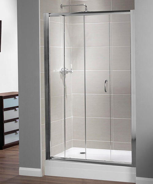 Aqualux Shine Xtra Sliding Door 1000mm x 1850mm Silver