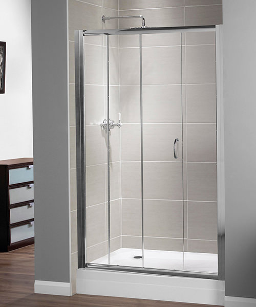 Aqualux Shine Xtra Sliding Door 1100mm x 1850mm Silver