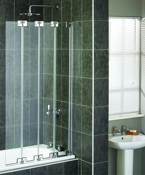 Aqualux Aqua 6 4-Fold Bath Screen 850mm Polished Silver