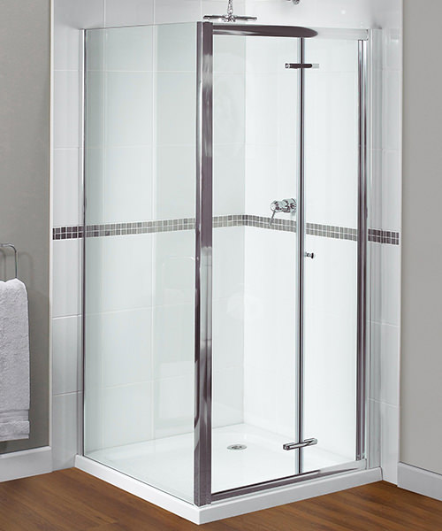 Aqualux Shine Xtra Bi-Fold Door 800mm x 1850mm Polished Silver