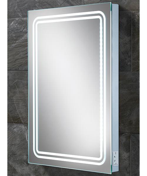 HIB Rotary Steam Free LED Back-Lit Mirror With Shaver Socket 500 x 700mm