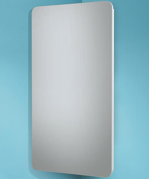 HIB Turin Corner Mirrored Cabinet White - W 300 x H 600mm