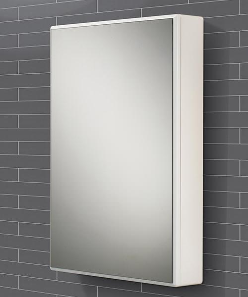 HIB Tulsa Slimline White Single Door Mirrored Cabinet 500 x 700mm