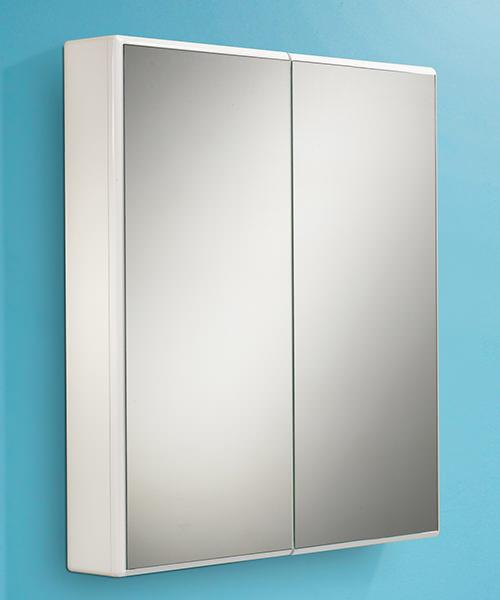 HIB Jersey Slimline White Double Door Mirrored Cabinet 650 x 700mm
