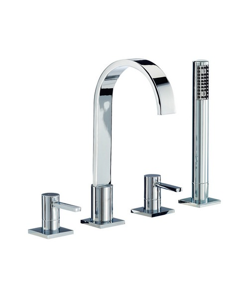 Mayfair Wave Lever Bath Shower 4 Hole Mixer Tap With Shower Handset
