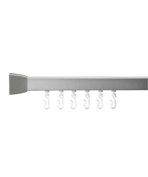 Croydex Professional Profile 800 Standard Angled 1200mm Silver Curtain Rail
