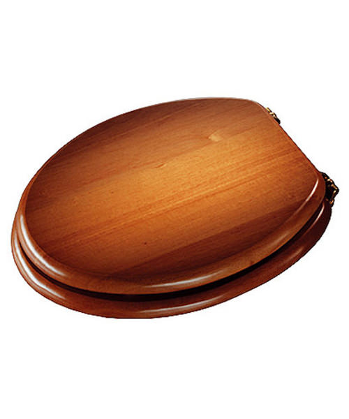 Croydex Antique Pine Brass Solid Wood Toilet Seat