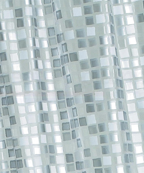 Croydex Patterned Vinyl Mosaic Silver PVC Shower Curtain