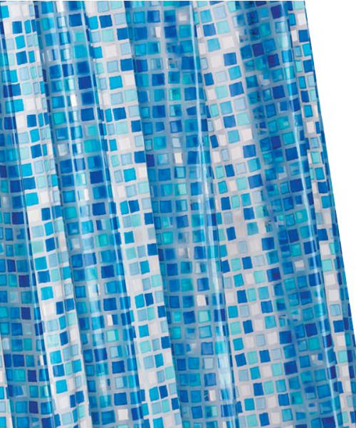 Croydex Vinyl Mosaic Blue PVC Shower Patterned Curtain