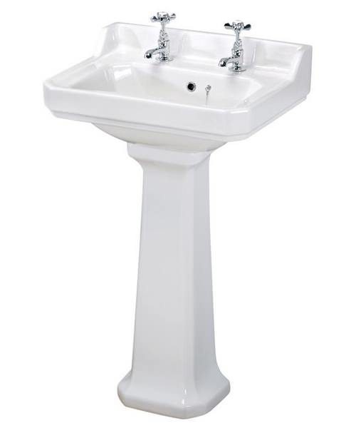Beo Ambience 2 Tap Hole 600mm Basin And Full Pedestal