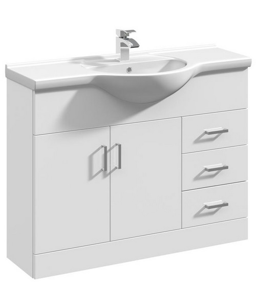 Lauren Delaware 1050mm 2 Door And 3 Drawer Basin Vanity Unit