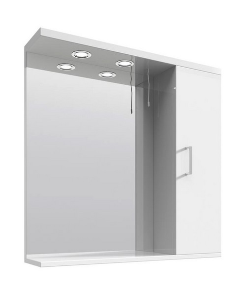 Lauren Mayford High Gloss White 750mm Mirror Cabinet With
