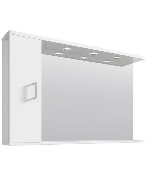 Nuie Premier Mayford High Gloss White 1200mm Mirror Cabinet With Lights