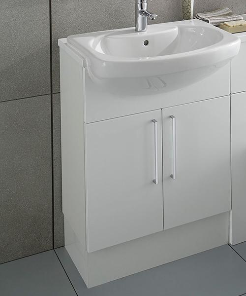 Roca Smooth 520 x 240mm Compact Semi Recessed Basin Unit Gloss White