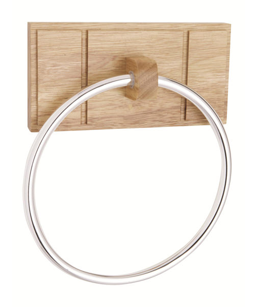 Croydex Maine Natural Rubberwood Towel Ring