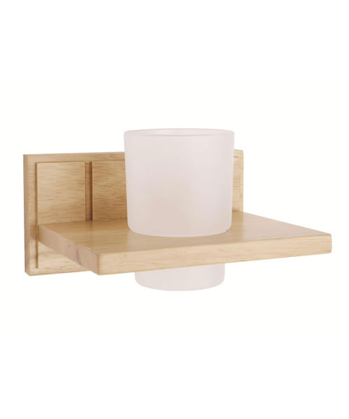 Croydex Maine Natural Rubberwood Tumbler And Holder