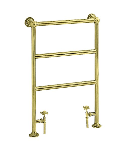 Heritage Portland Heated Towel rail 575mm In Vintage Gold Finish