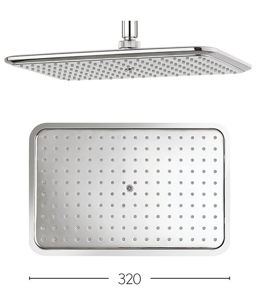 Crosswater Essence 320x210mm Rectangular Shower Head