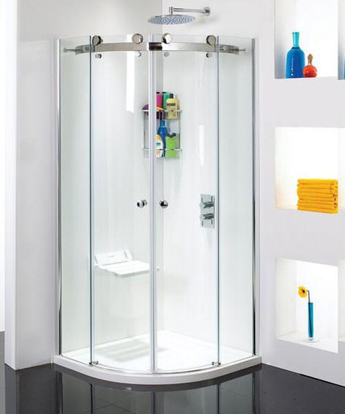 Phoenix Frameless Quadrant Twin Sliding Shower Door 900 x 900mm