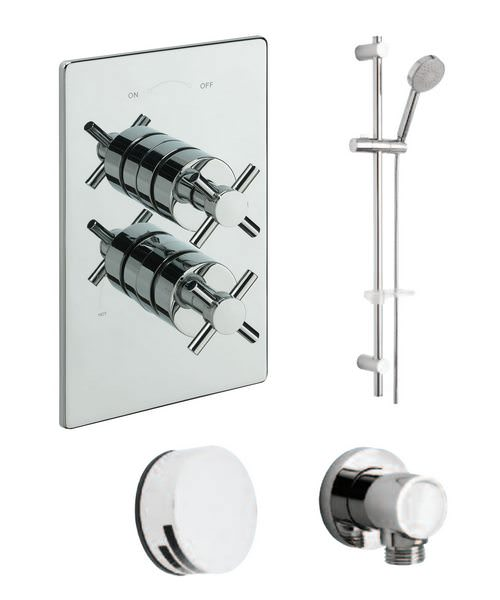 Tre Mercati Crosshead Concealed Valve With 2 Way Diverter And Shower Set