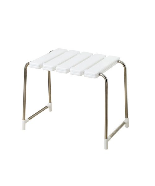 luxury shower bench white and chrome
