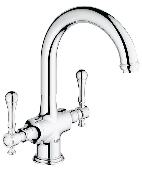 Grohe Bridgeford Dual Lever Kitchen Sink Mixer Tap With Swivel Spout