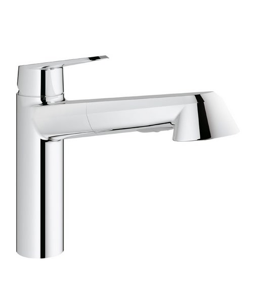 Grohe Eurodisc Low Spout Cosmopolitan Tap With Pull Out Spray Chrome