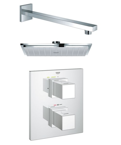 Grohe Grohtherm Cube Plus Rainshower Shower Solution Pack 2