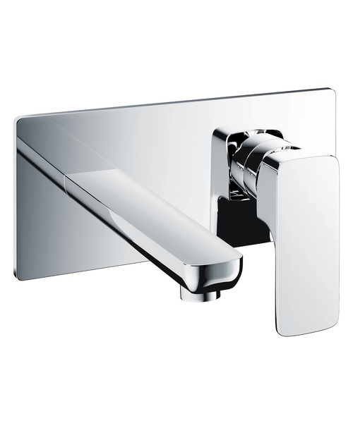 Pura Flite Wall Mounted 2 Hole Basin Mixer Tap With Clicker Waste