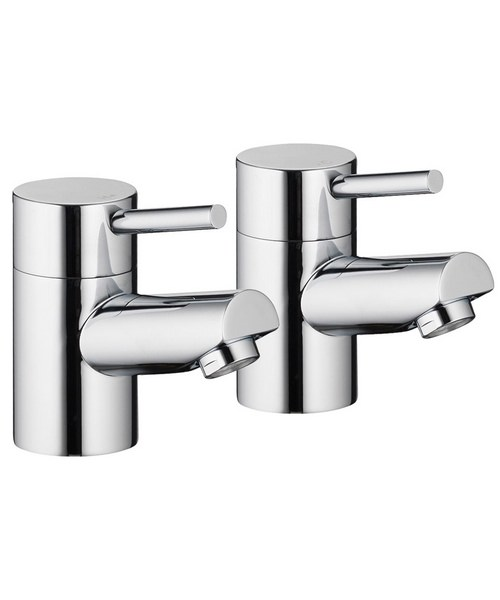 Pura Xcite Chrome Finish Basin Pillar Taps