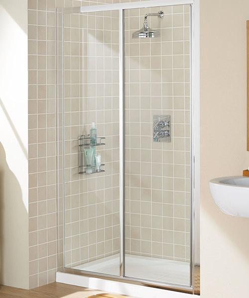 Lakes Classic Framed Slider Shower Door 1100mm Silver