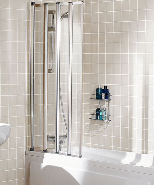 Lakes Classic Framed Four Panel Bath Shower Screen 730 x 1400mm Silver