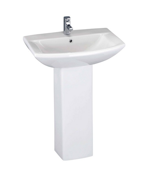 Lauren Asselby 600mm 1 Tap Hole Basin And Full Pedestal