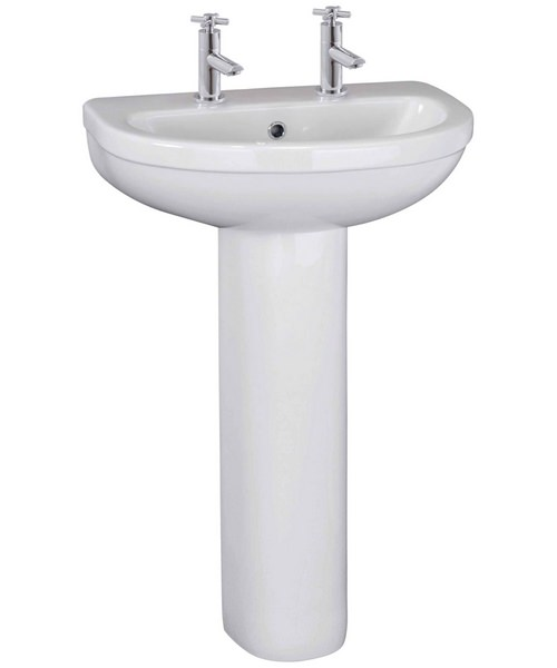 Lauren Ivo 550mm 2 Tap Hole Basin And Full Pedestal
