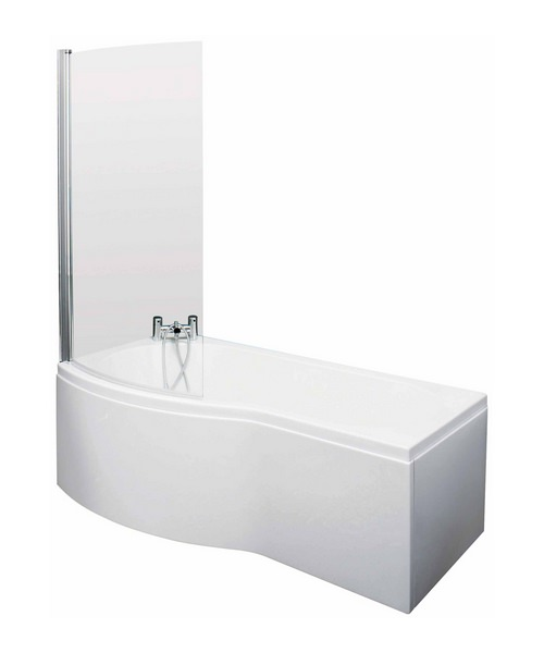 Lauren Curved B-Shaped 1700 x 900mm Left Hand Acrylic Shower Bath Pack