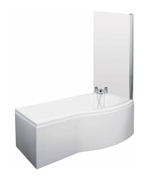Lauren Curved B-Shaped 1700 x 900mm Right Hand Acrylic Shower Bath Pack
