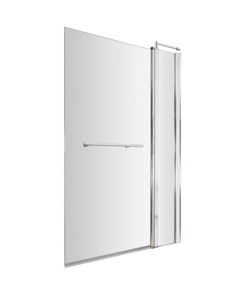Lauren Square 985-1005 x 1435mm Bath Screen With Fixed Panel And Rail
