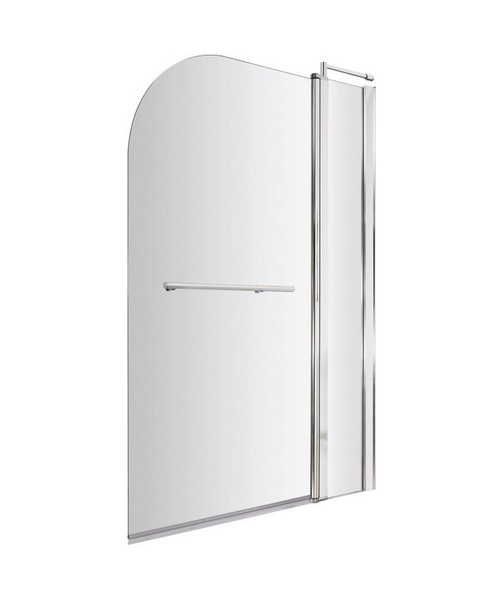 Lauren Straight 985-1005 x 1435mm Bath Screen With Fixed Panel And Rail