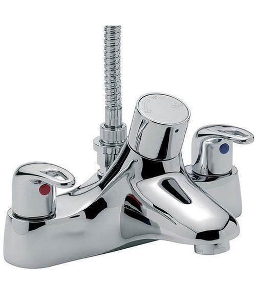 Tre Mercati Latina Thermostatic Deck Bath Shower Mixer Tap With Kit Chrome